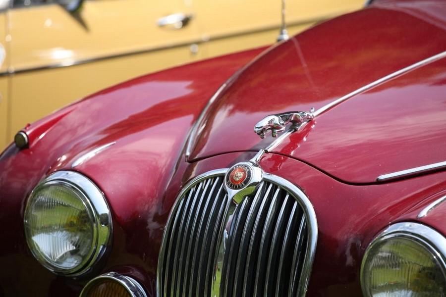 Photographie du capot d'une ancienne Jaguar rouge (voiture)